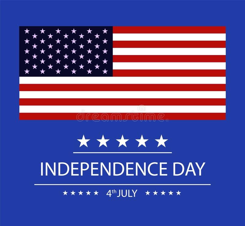 Bannière de Jour de la Déclaration d'Indépendance, quatrièmement de juillet Drapeau américain sur le fond bleu Independed des Eta illustration libre de droits