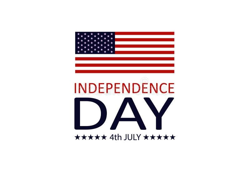 Bannière de Jour de la Déclaration d'Indépendance, quatrièmement de juillet Drapeau américain sur le fond d'isolement Les Etats-U illustration de vecteur