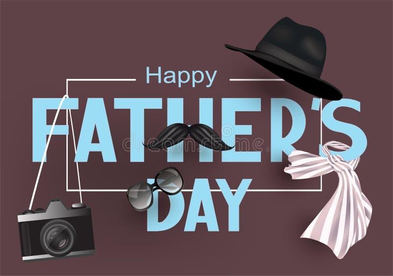 Bannière de jour de pères avec des lettres et des objets du papa illustration de vecteur
