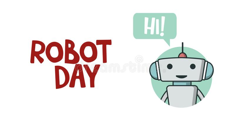 Bannière de jour de robot illustration libre de droits