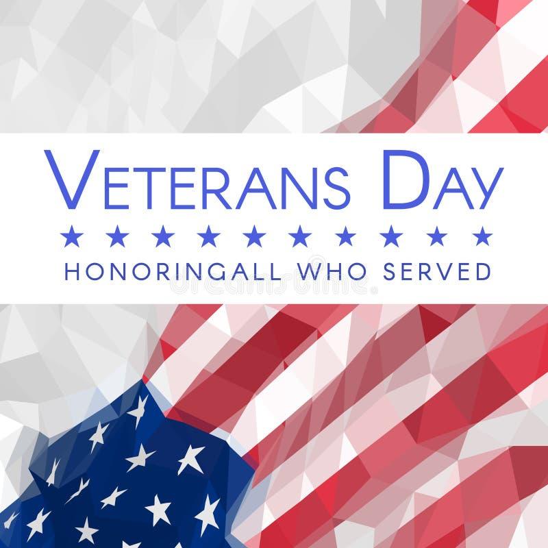 Bannière de jour de vétérans avec le drapeau des Etats-Unis avec l'inscription honorant tous ce qui ont servi illustration libre de droits
