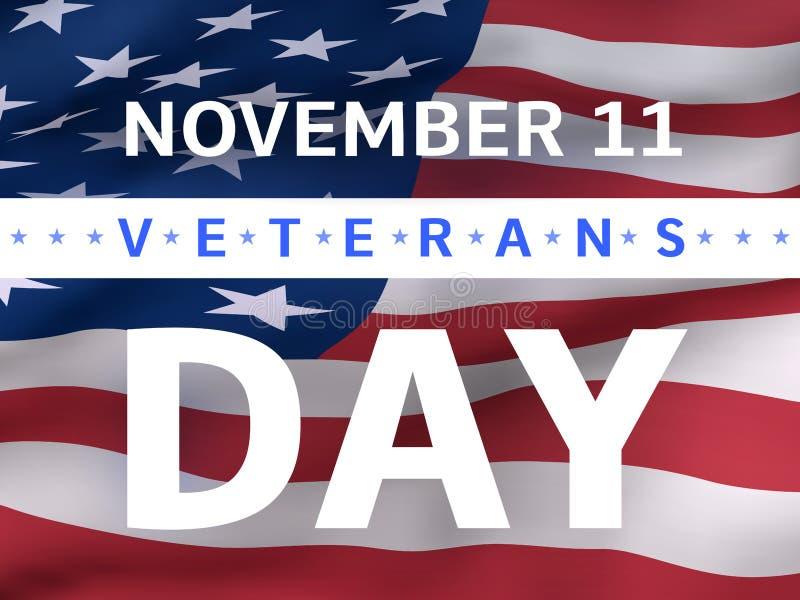 Bannière de jour de vétérans avec le drapeau des USA illustration libre de droits