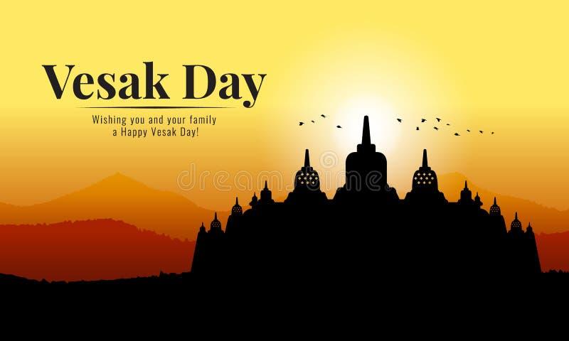 Bannière de jour de Vesak avec le temple bouddhiste de silhouette de Borobudur et de Mountain View en égalisant la conception de  illustration de vecteur