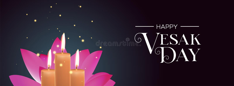 Bannière de jour de Vesak des bougies et de la fleur de lotus rose illustration de vecteur
