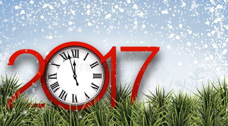 Bannière de la nouvelle année 2017 avec l'horloge illustration de vecteur