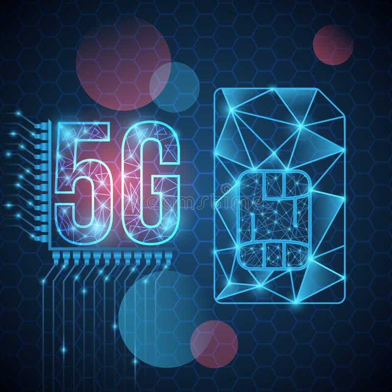 bannière de la nouvelle technologie 5G Signe de puce de carte de SIM Nouveau fond mobile de technologie de réseau 5g Illustration illustration de vecteur