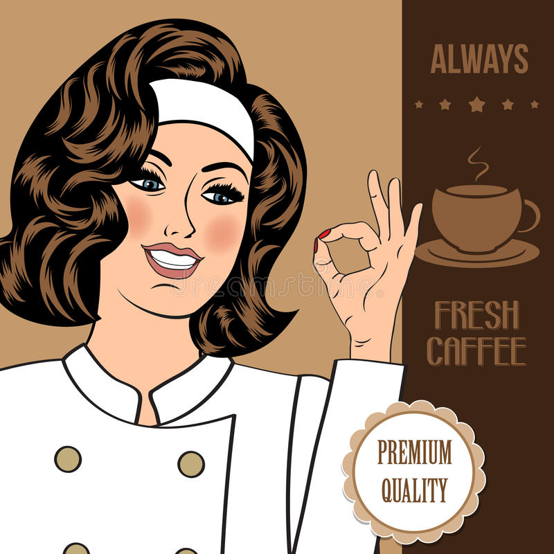 Bannière de la publicité de café avec une belle dame illustration stock