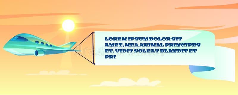 Bannière de la publicité sur l'illustration de vecteur d'avion illustration de vecteur