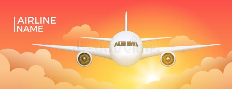 Bannière de ligne aérienne avec le fond d'aviation de voyage d'avions Affiche d'illustration de jet de tourisme de ciel de vol d' illustration stock