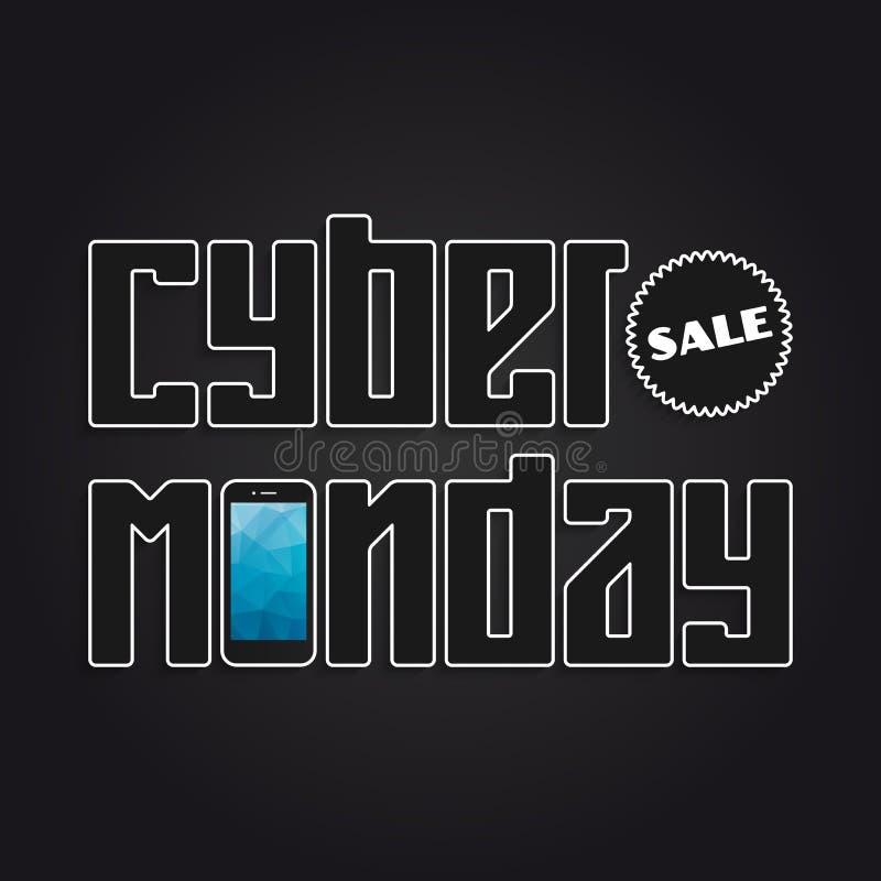 Bannière de lundi de Cyber illustration stock