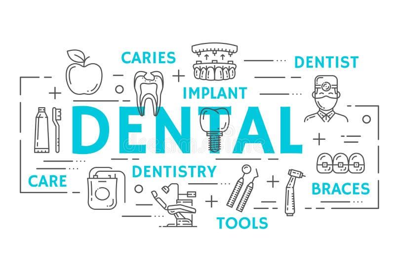 Bannière de médecine d'art dentaire de ligne mince dentaire icône illustration de vecteur