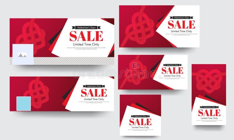 Bannière de médias de vente de temps limité et ensemble sociaux d'affiche avec la forme créative de coeur illustration de vecteur