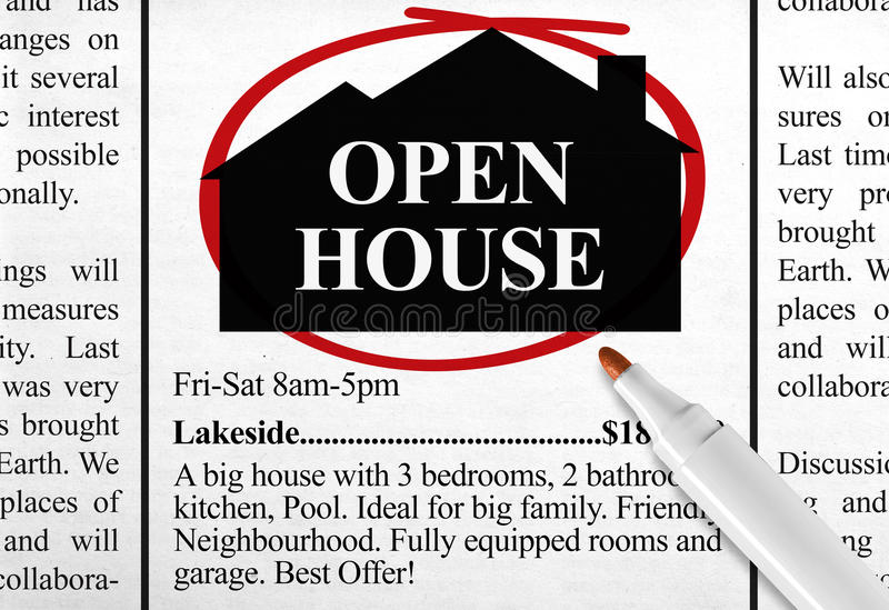 Bannière de maison ouverte image libre de droits