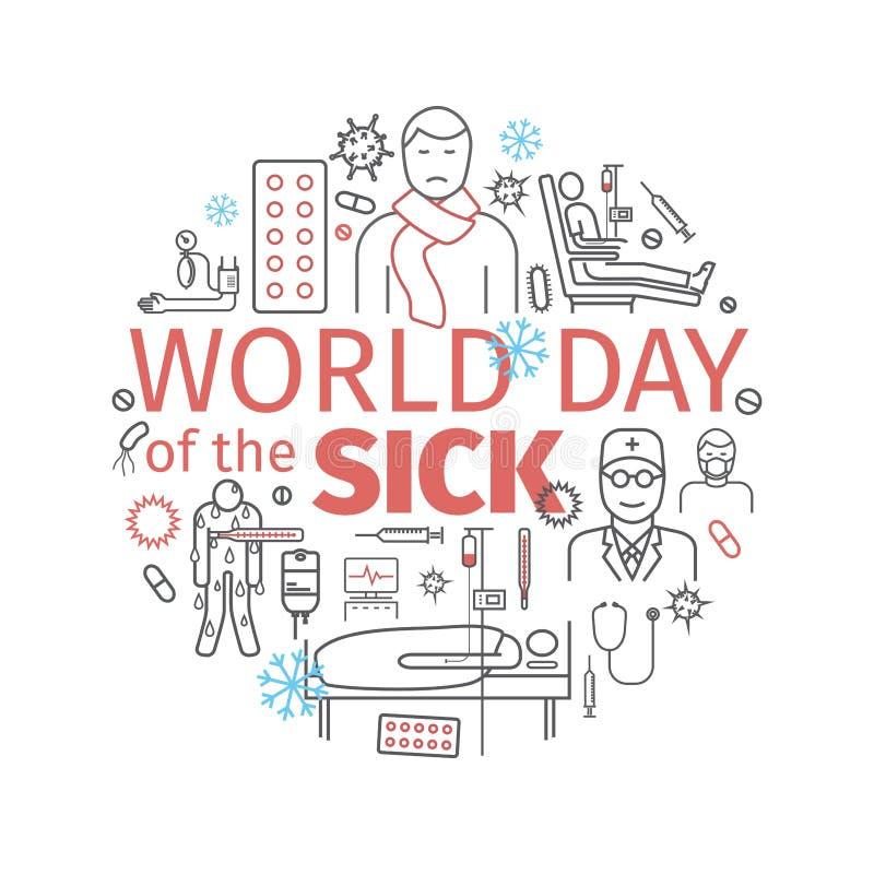 Bannière de malade de jour du monde Ligne icônes réglées Signes de vecteur illustration libre de droits