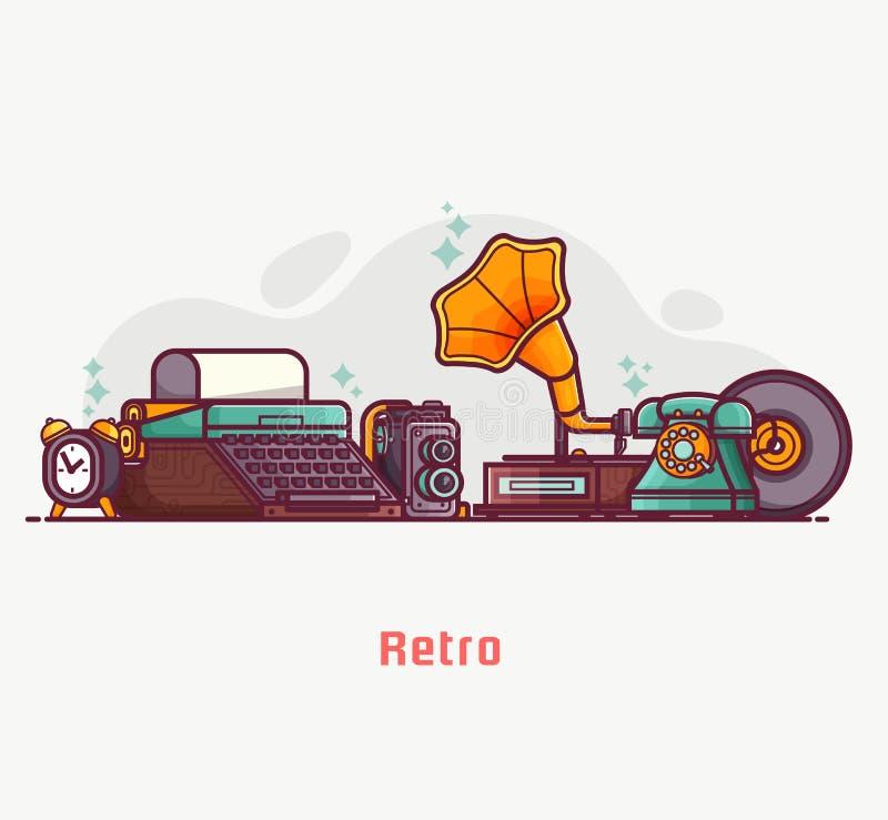 Bannière de marché aux puces de choses et d'objets de vintage illustration stock
