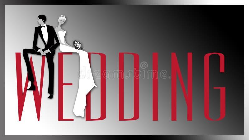 Bannière de mariage avec les couples illustration libre de droits