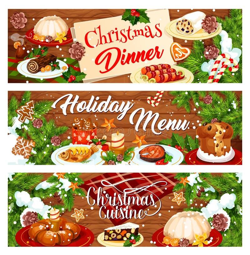 Bannière de menu de Noël avec des plats de dîner de Noël illustration libre de droits