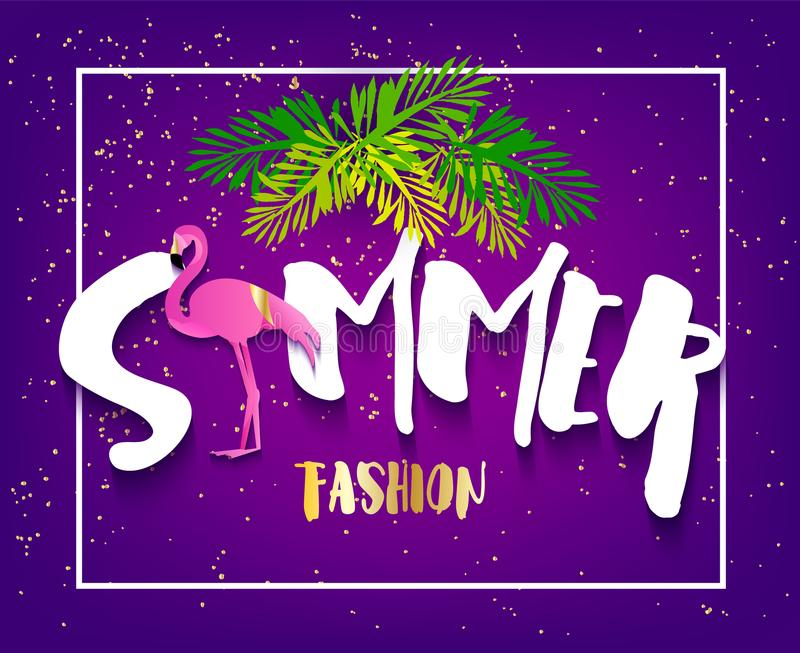 Bannière de mode d'été avec le flamant, le texte et les palmettes sur le fond violet Conception plate illustration stock