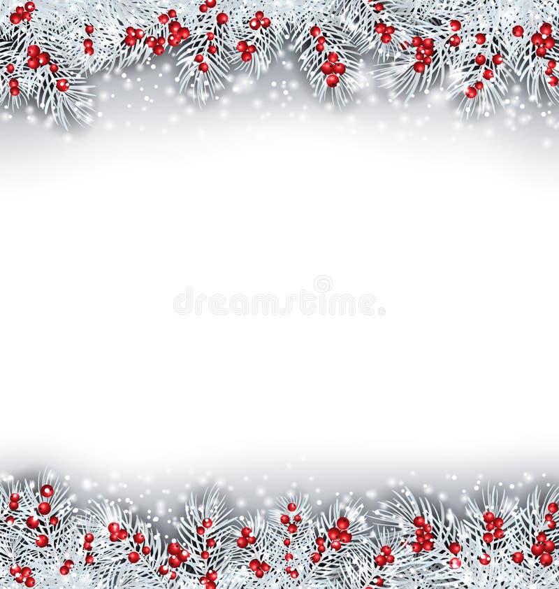 Bannière de Noël avec des brindilles de sapin argenté illustration stock