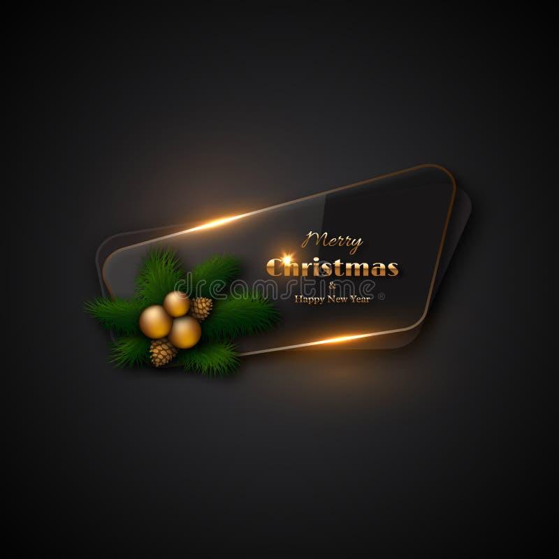 Bannière de Noël avec le verre transparent et les lumières rougeoyantes Blac illustration stock