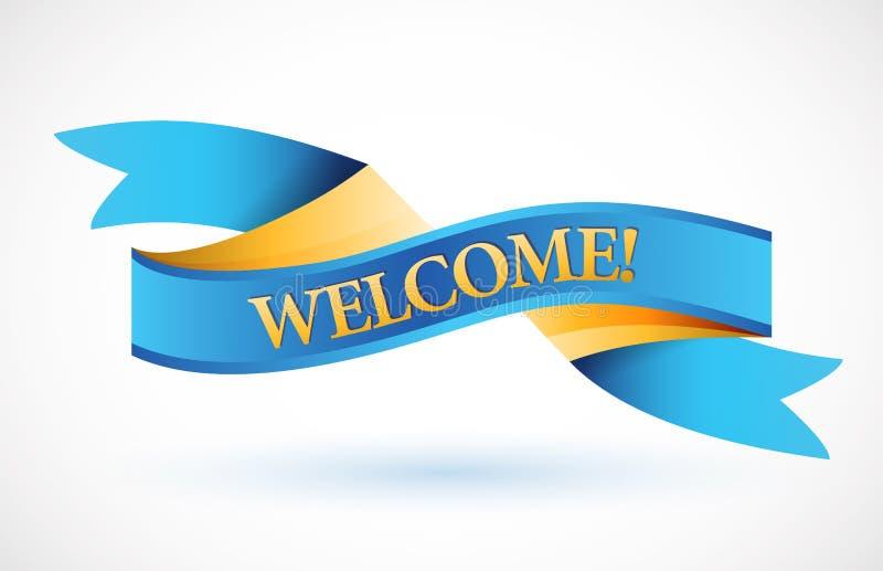 Bannière de ondulation bleue bienvenue de ruban illustration de vecteur