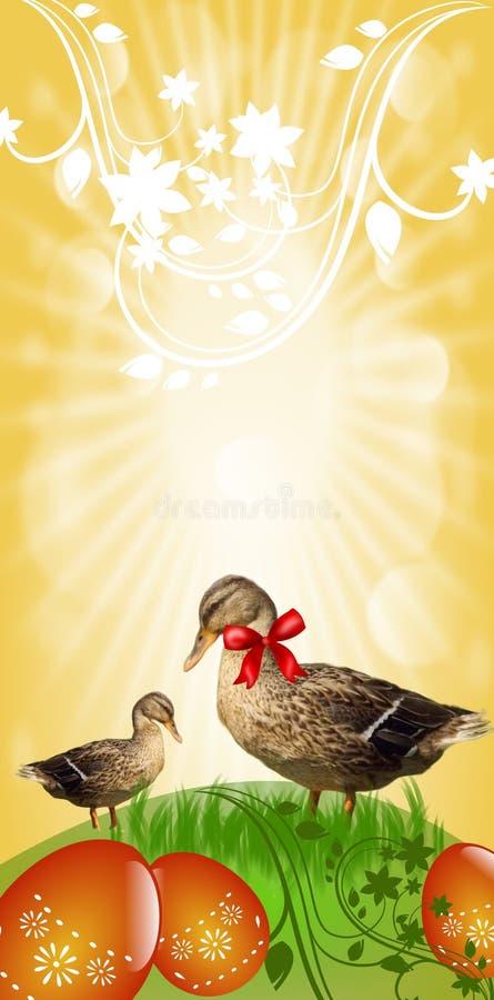 Bannière de Pâques avec des canards illustration de vecteur
