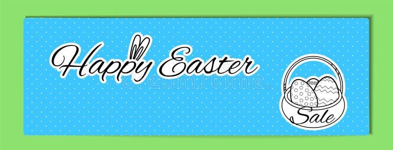 Bannière de Pâques avec l'inscription Joyeuses Pâques avec des oreilles de lapin et un panier avec des oeufs sur un fond blanc da illustration libre de droits