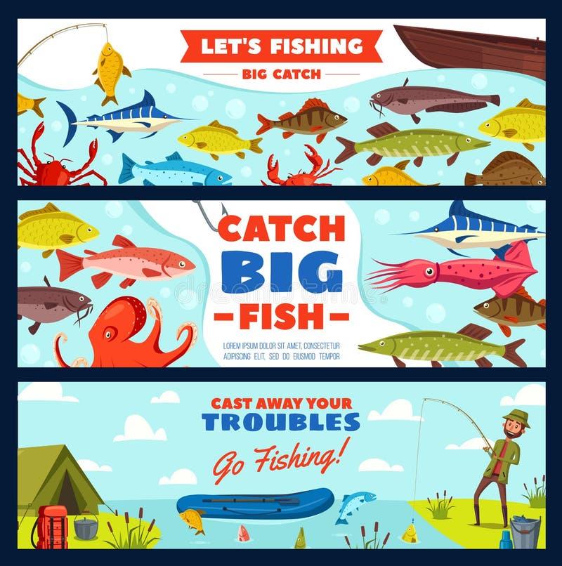 Bannière de pêche avec le pêcheur, les poissons, la tige et le crochet illustration libre de droits