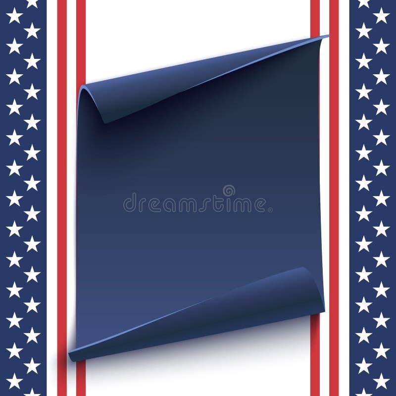 Bannière de papier bleue et incurvée sur le fond américain illustration libre de droits