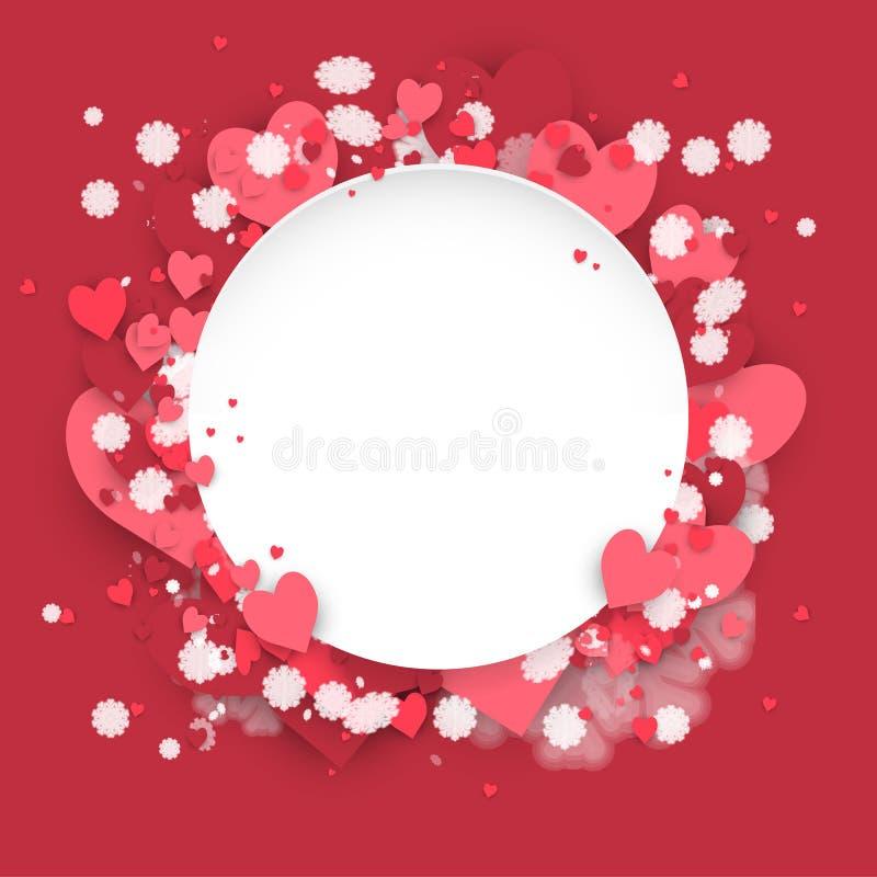 Bannière de papier de cercle avec le fond de valentine de coeurs au jour de St Valentine illustration stock