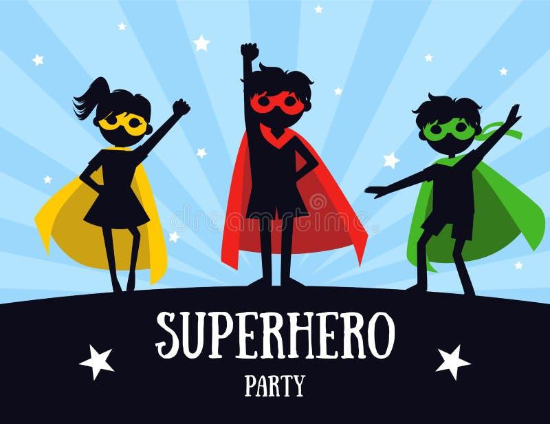 Bannière de partie de super héros, enfants mignons dans des costumes de super héros et masques, invitation d'anniversaire, vecteu illustration stock