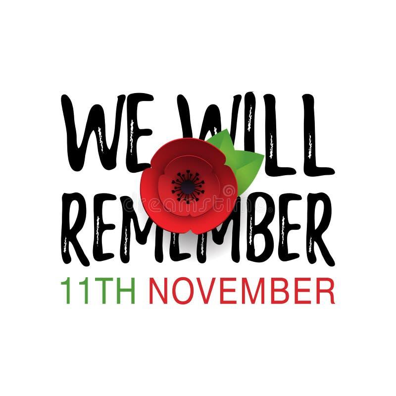 Bannière de pavot de jour de souvenir, carte De peur que nous oubliions la citation 11 novembre date illustration de vecteur