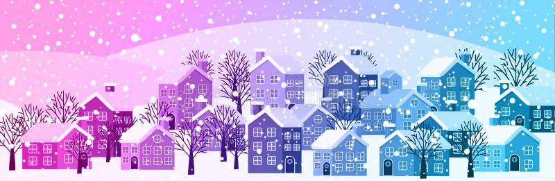 Bannière de paysage urbain d'hiver illustration libre de droits