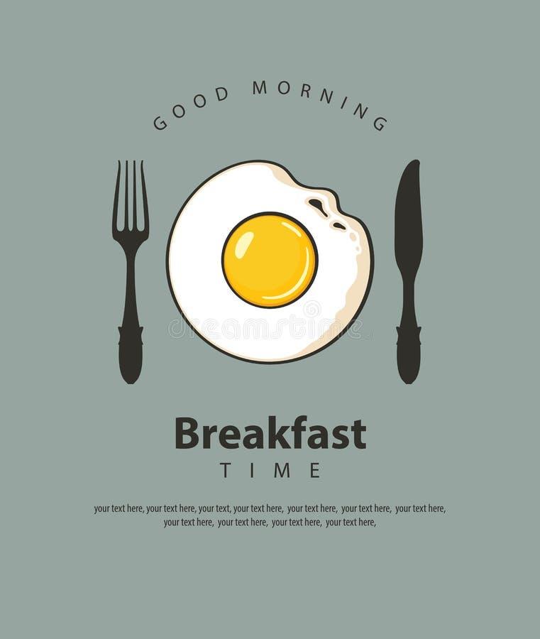 Bannière de petit déjeuner avec l'oeuf au plat, la fourchette et le couteau illustration libre de droits