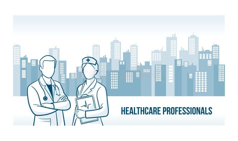 Bannière de professionnels de soins de santé illustration de vecteur