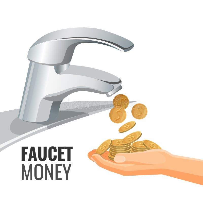 Bannière de promo d'argent de robinet avec les pièces de monnaie d'or du robinet illustration stock