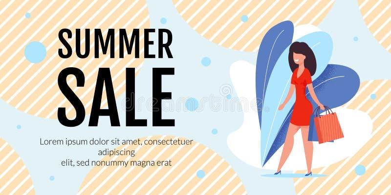 Bannière de promo des textes de vente d'été avec la femme élégante illustration de vecteur