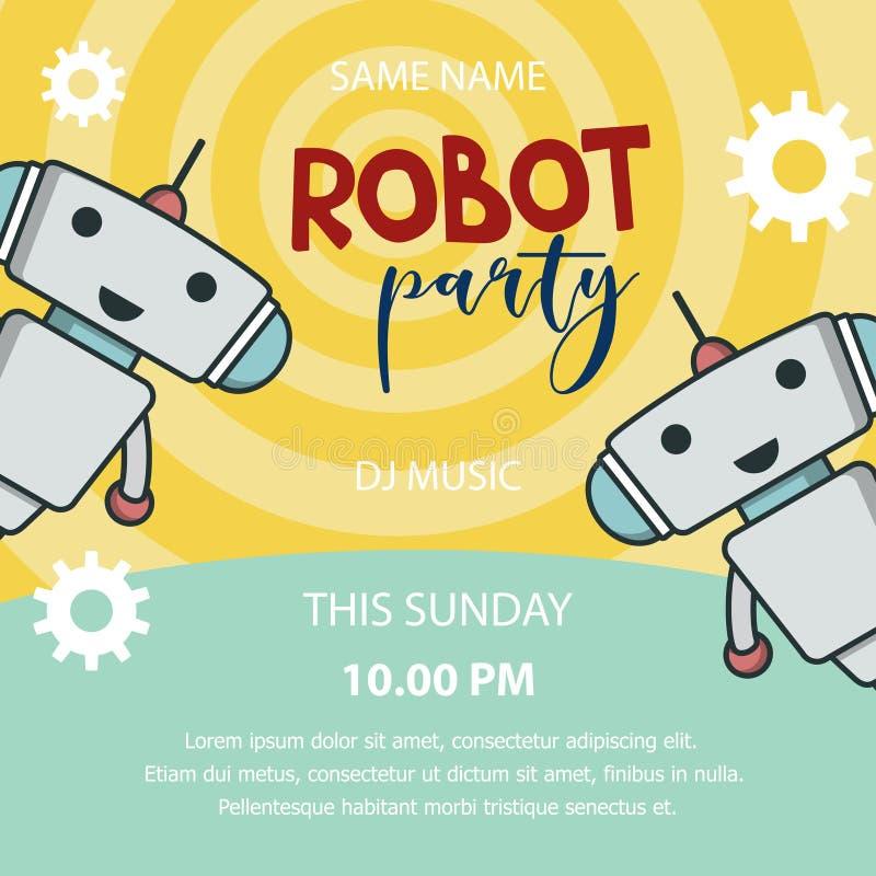 Bannière de promo de partie de robot illustration stock