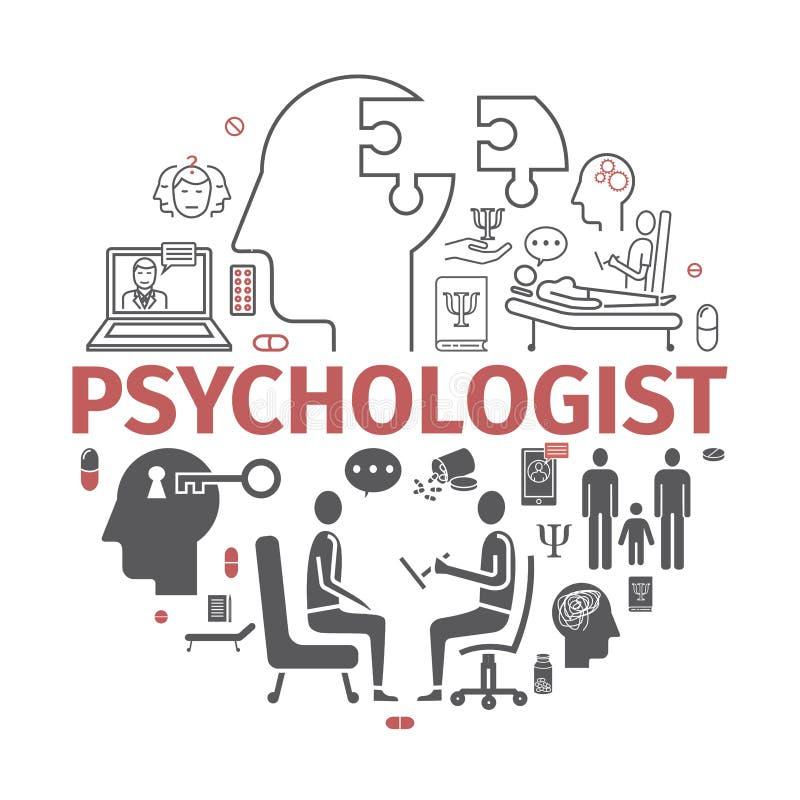 Bannière de psychologue, infographics conceptuel Consultation de la psychologie Signe de vecteur pour des graphiques de Web illustration stock