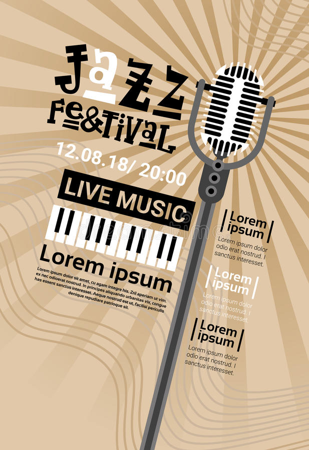 Bannière de publicité d'affiche de Jazz Festival Live Music Concert rétro illustration stock