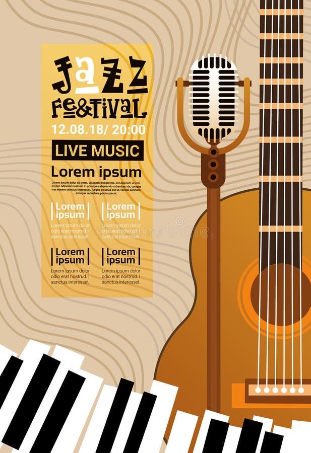 Bannière de publicité d'affiche de Jazz Festival Live Music Concert rétro illustration de vecteur