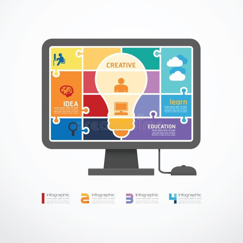 Bannière de puzzle d'ordinateur de calibre d'Infographic. concentré illustration stock