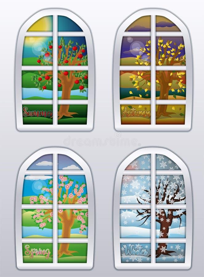 Bannière de quatre fenêtres de saisons, vecteur illustration stock