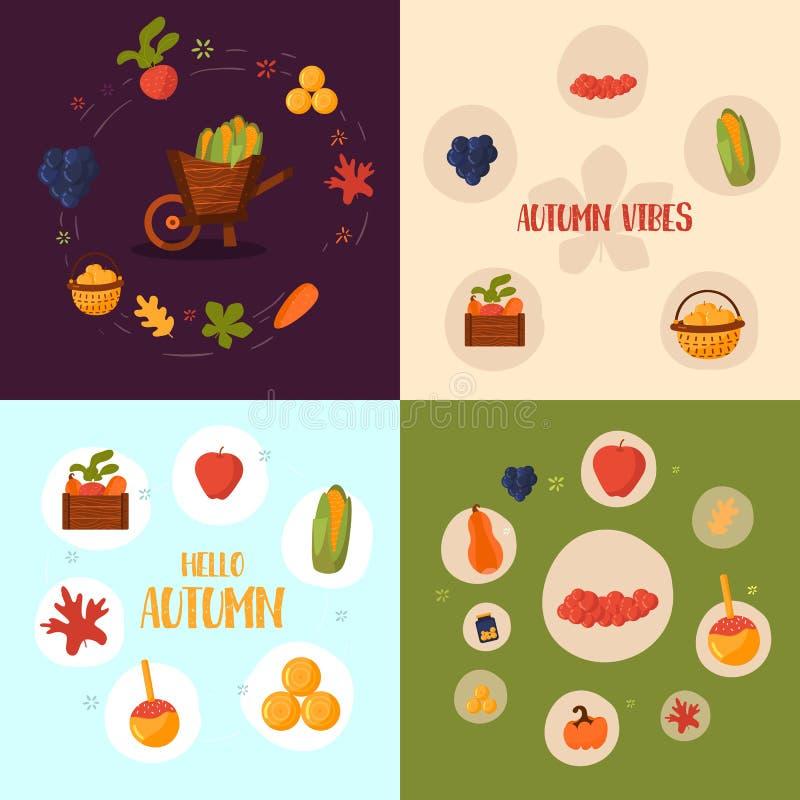 Bannière de récolte d'automne, concept de construction d'infographics dans le style plat Illustration de vecteur Objets de chute  illustration stock