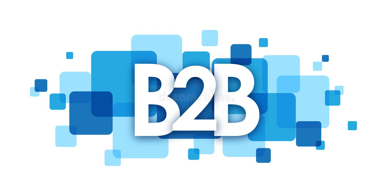 Bannière de recouvrement bleue de places de B2B illustration stock