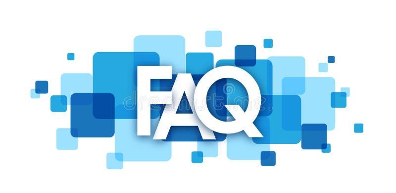 Bannière de recouvrement bleue de places de FAQ illustration libre de droits