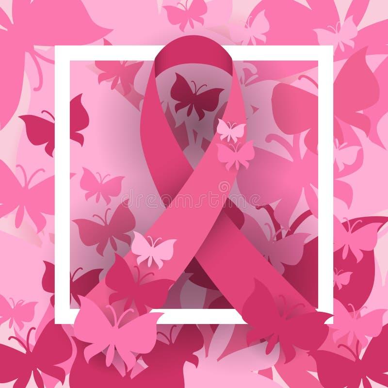 Bannière de rose de conscience de cancer du sein illustration de vecteur