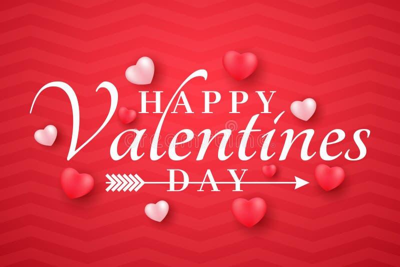 Bannière de Saint-Valentin pour le Web Coeurs 3D romantiques sur un fond rouge Beaux calligraphie et lettrage Composition romanti illustration stock