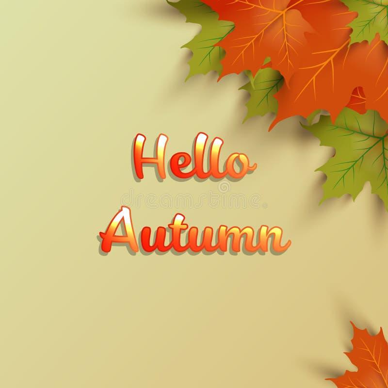 Bannière de saison d'automne Carte de voeux avec l'inscription bonjour illustration stock