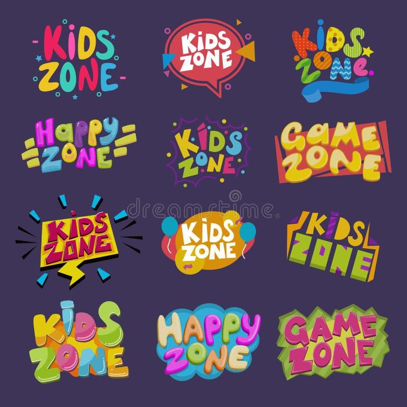 Bannière de salle de jeux d'enfants de vecteur de pièce de jeu dans le style de bande dessinée pour l'ensemble heureux d'illustra illustration libre de droits